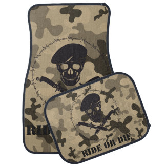 Personalized Skull Beret Barbed Wire Camouflage Car Mat
