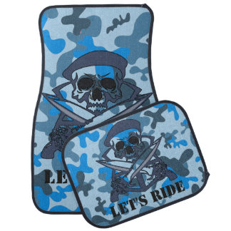 Personalized Skull Beret Blue Gray Camouflage Camo Car Mat