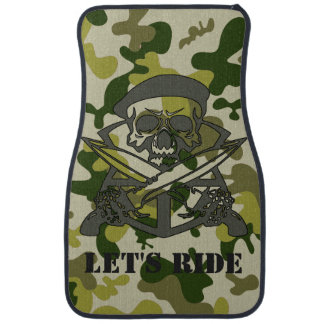 Personalized Skull Beret Green Gray Camouflage Cam Car Mat
