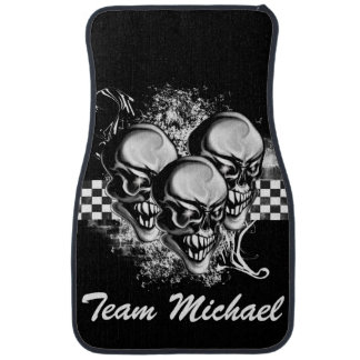 Personalized Skull Grunge and Checkers Car Mats