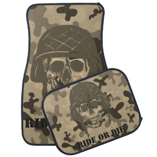 Personalized Skull Helmet Camo Camouflage Car Mat