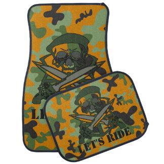 Personalized Skull Orange Green Gray Camouflage Car Mat