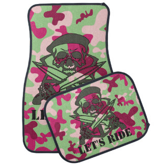 Personalized Skull Purple Green Gray Camouflage Car Mat