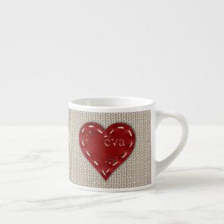 Personalized Small Coffee Mug w/ Leather Heart