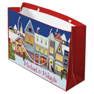 Personalized Small Town Street Scene Christmas Large Gift Bag