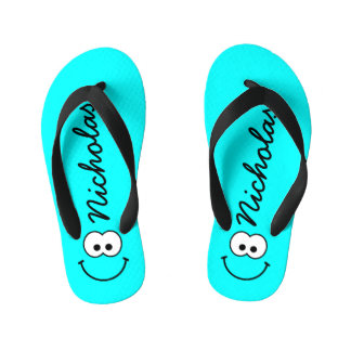 Personalized Smiley Blue Thongs