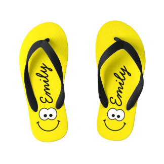 Personalized Smiley Yellow Thongs