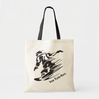 Personalized Snowboarder Snowboarding Mountain Tote Bag