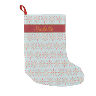Personalized snowflake floral hearts pattern small christmas stocking