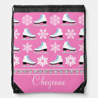 Personalized Snowflakes and Figure Skates Pattern Drawstring Bag