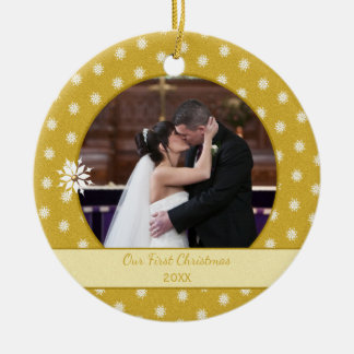Personalized Snowflakes First Christmas Photo Ceramic Ornament