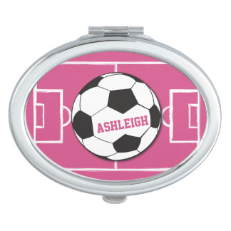 Personalized Soccer Ball and Field Pink Mirrors For Makeup