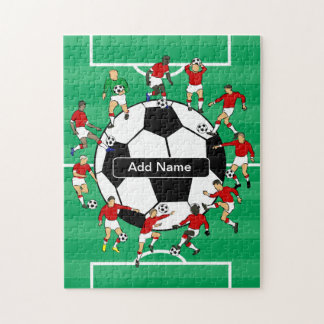 Personalized Soccer Ball and Players Jigsaw Puzzle
