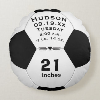 Personalized Soccer Ball Name and Baby Stats Round Cushion