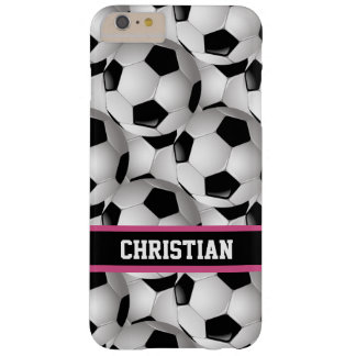 Personalized Soccer Ball Pattern Black Pink White Barely There iPhone 6 Plus Case