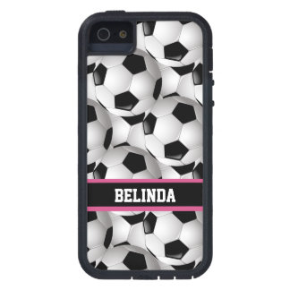 Personalized Soccer Ball Pattern Black Pink White iPhone 5 Covers