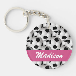 Personalized Soccer Ball Pattern Pink Double-Sided Round Acrylic Key Ring
