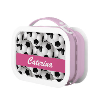 Personalized Soccer Ball Pattern Pink Lunch Box