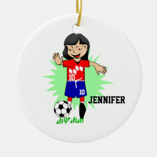 Personalized Soccer Girl Playing Ornament