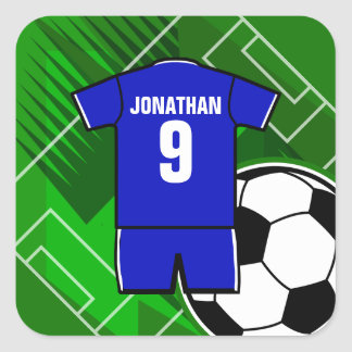 Personalized Soccer Jersey Blue with White Square Sticker