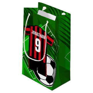 Personalized Soccer Jersey Red and Black Stripes Small Gift Bag