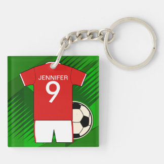 Personalized Soccer Jersey Red and White Double-Sided Square Acrylic Key Ring