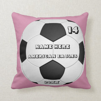 Personalized Soccer pink cushion with Player Name
