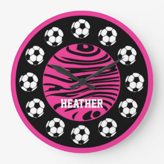 Personalized Soccer Pink Zebra Stripes Wall Clock
