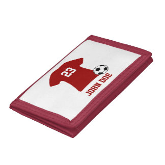 Personalized Soccer Shirt With Ball Trifold Wallet