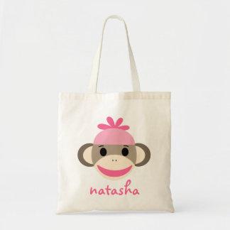Personalized Sock Monkey Bookbag Budget Tote Bag