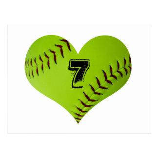 Personalized softball heart postcard