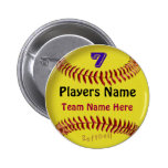 PERSONALIZED Softball Pins, NUMBER, NAME and TEAM 6 Cm Round Badge