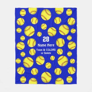 Personalized Softball Throw Blanket, Text, Colors Fleece Blanket