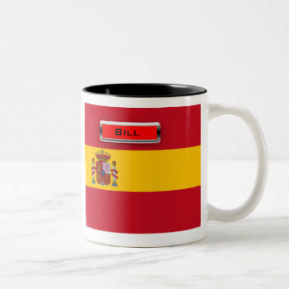 Personalized Spain Flag Coat of Arms 2-Tone Mug