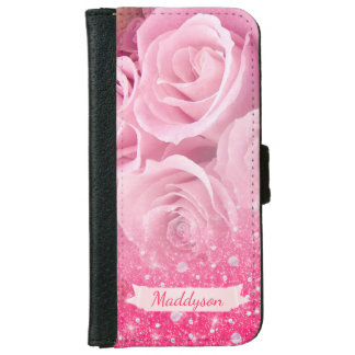Personalized Sparkly Glitter Rose For Teen Girls iPhone 6 Wallet Case