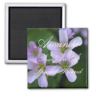 Personalized Special Friend Purple Flowers Square Magnet