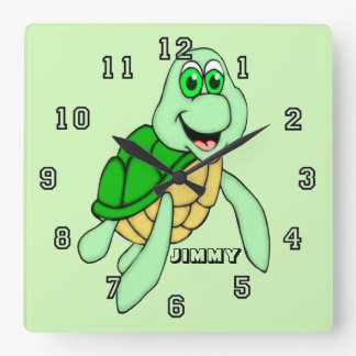 Personalized Speedy Turtle Square Wall Clock