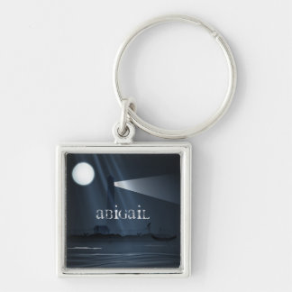 Personalized Spooky Lighthouse and Full Moon Night Key Ring