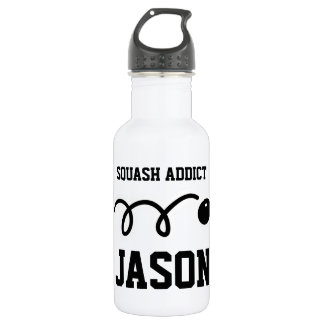 Personalized sports water bottle for squash player