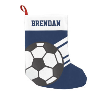 Personalized Sporty Stripes Soccer Ball Navy Blue