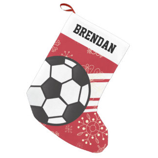 Personalized Sporty Stripes Soccer Ball Red Small Christmas Stocking