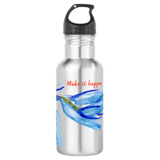 Personalized Spring Bluebell Painting Water Bottle
