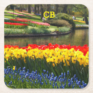 Personalized spring flowers Easter coasters