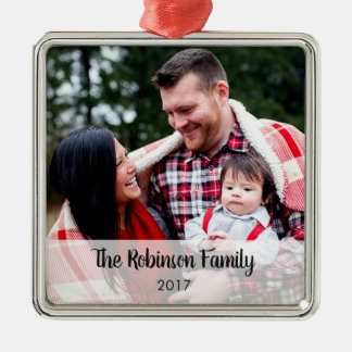 Personalized Square Any Message Photo Ornament