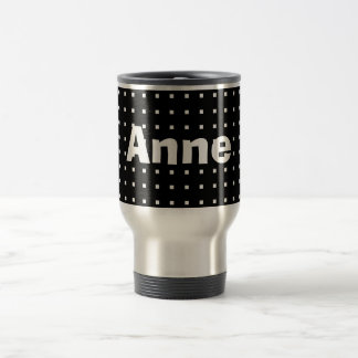 Personalized Square Print Minimalistic Black Anne Travel Mug