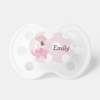 """Personalized """"Stacked Elephants on Dots"""" Pacifier"""