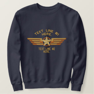Personalized Star Badge Pilot Wings Embroidered Sweatshirt