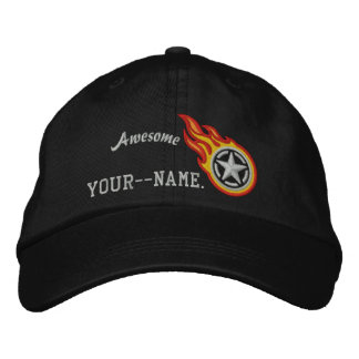 Personalized Star Stencil Racing Flames Bullet Embroidered Hats