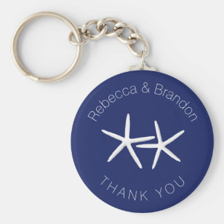 Personalized Starfish Navy Wedding Key Ring Favor Basic Round Button Key Ring