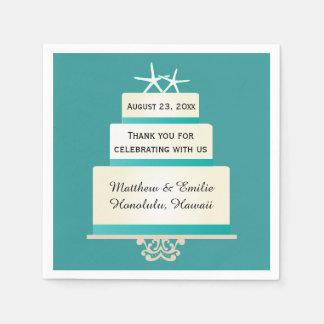 Personalized Starfish Wedding Cake Napkins Disposable Napkins